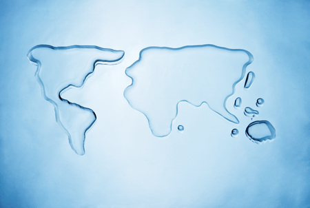 Spilled water shaping the world map