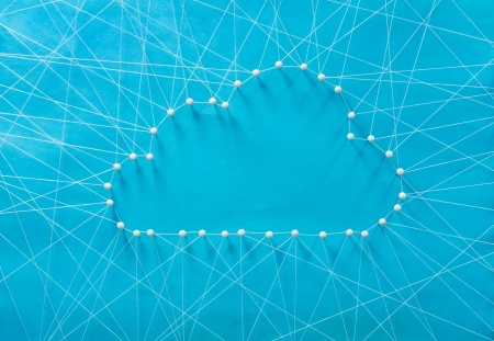 information superhighway: Wired cloud made out of threads and pins Stock Photo