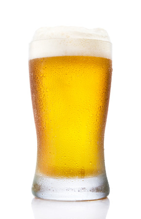 pint glass: Frosty pint glass of beer isolated on a white background