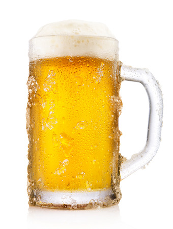 Frosty mug of beer isolated on white background