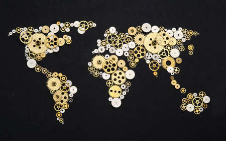 world locations: Global cooperation. World map formed by gears