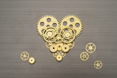 Heart made out of gears and cogs photo