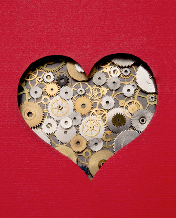 pacemaker: Heart made out of gears and cogs Stock Photo