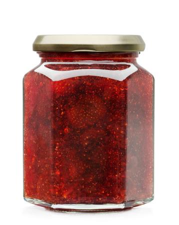 Strawberry jam glass jar isolated on white  photo