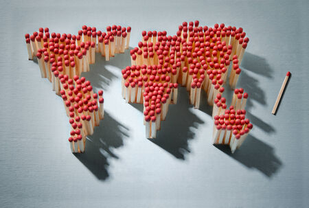 risk of war: World map made of matches waiting for a spark Stock Photo