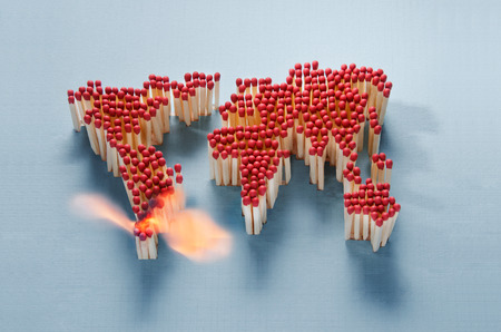 peace risk: World map made of matches waiting for a spark Stock Photo