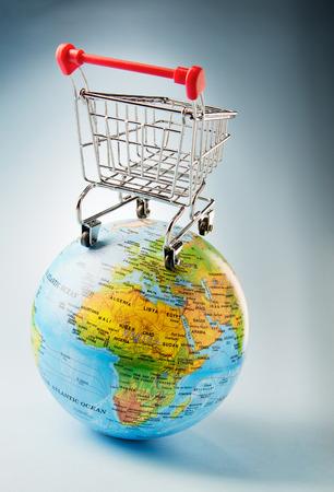 Shopping trolley around the world photo