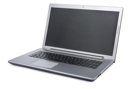 白い背景に分離された空白の画面を持つノート パソコン