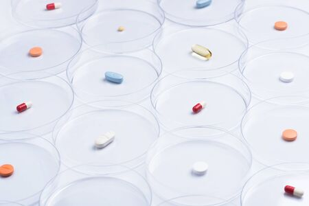 Drugs sitting in petri dish for pharmaceutical research Banco de Imagens
