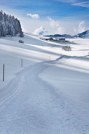 snow capped mountain: Ski tracks in the snow covered landscape Stock Photo