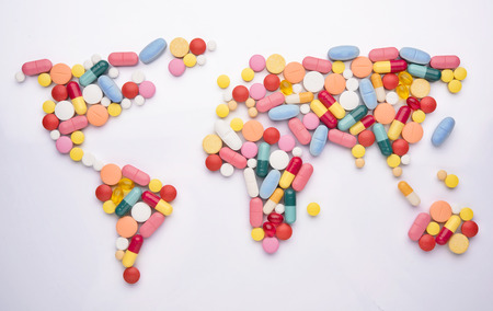 Pills in world map shape