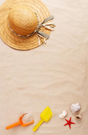 estrella de mar: Concepto de vacaciones con accesorios de playa de verano