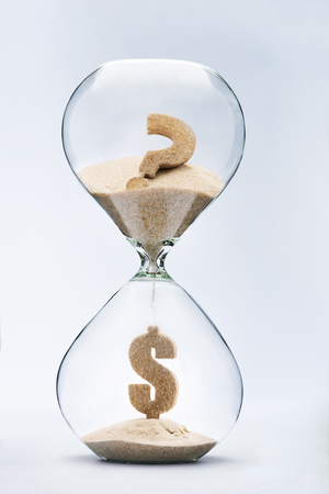 wait sign: Dollar crisis. Dollar sign made out of falling sand from question mark flowing through hourglass