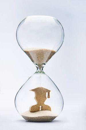 figure out: Graduate figure made out of falling sand inside hourglass
