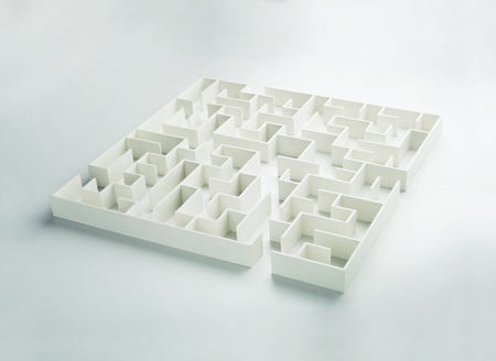 decisionmaking: Maze on white background concept for decision-making Stock Photo