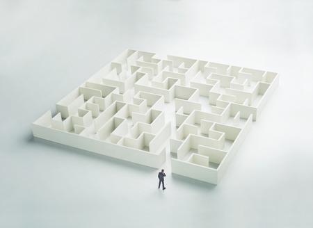 Business-Herausforderung. Ein Geschäftsmann am Eingang zu einem Labyrinth. Rückansicht Standard-Bild - 47913008