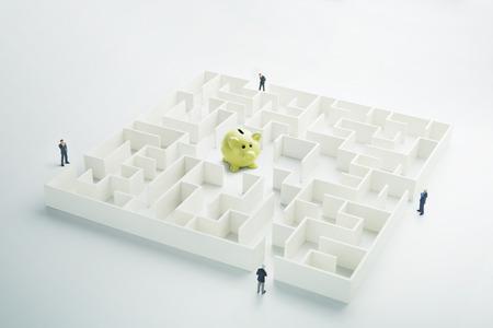 The uncertainty of money and business. Piggy bank hidden inside a maze