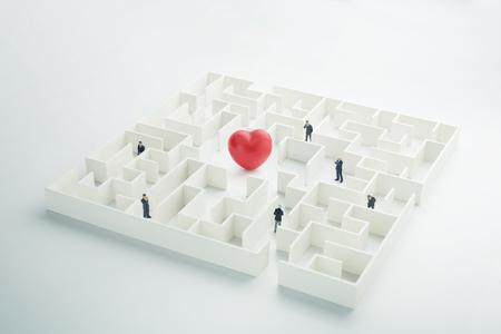 guidance: The complex world of emotions. Red heart hidden inside a maze