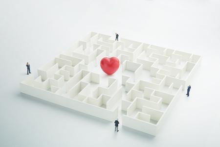 loveheart: The complex world of emotions. Red heart hidden inside a maze
