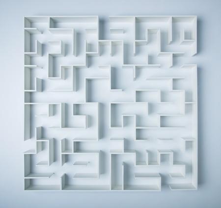 laberinto: Laberinto en el fondo blanco concepto para la toma de decisiones
