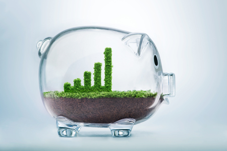 Business growth concept with grass growing in shape of graphic bar inside transparent piggy bank