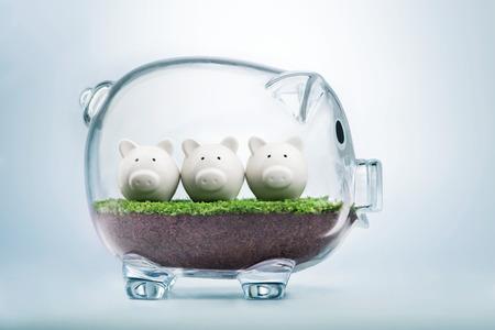 予算計画と貯金箱にお金の概念を割り当てる 写真素材