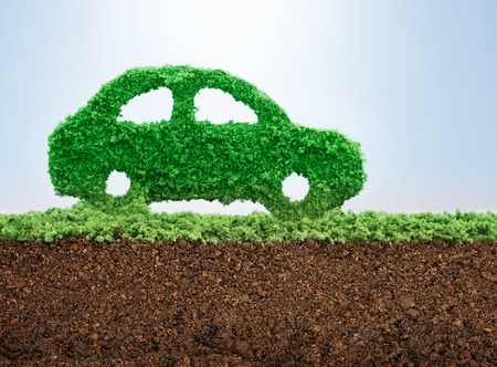 concept car: Green energy car concept with grass in shape of a car