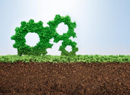 eficiencia: Concepto de crecimiento de negocio con la hierba que crece en forma de engranajes Foto de archivo