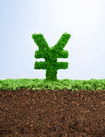 investment concept: Successful investment concept with grass Yuan symbol shape