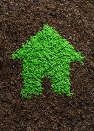 housing prices: Environmentally friendly living concept with grass in shape of a house