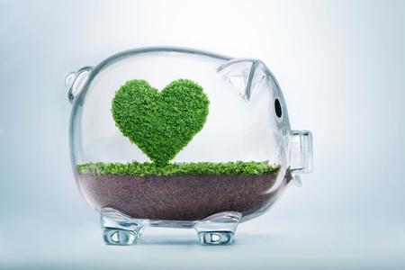투명 한 돼지 저금통 안에 심장의 모양에 성장하는 잔디와 자연 개념을 사랑 하 고 환경 보호에 투자 하 고 자연과 다시 연결할 필요성을 상징합니다.