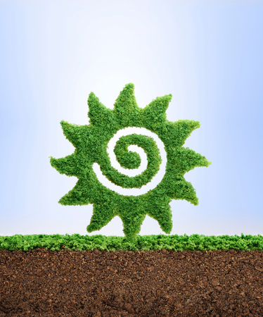 Spring and summer concept. Grass growing in the shape of the Sun, symbolising the need to protect the environment and reconnect with nature.