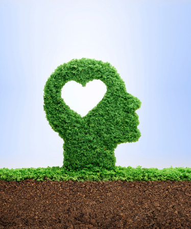 Learning to love concept, with grass growing in the shape of a cut out heart inside a human head. Love is the seed of our being. Stockfoto