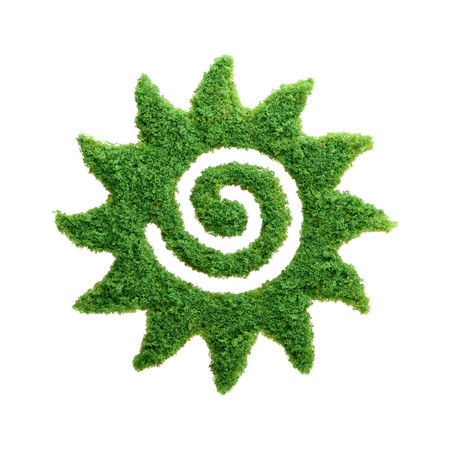 Spring and summer concept. Grass growing in the shape of the Sun. We need to protect the environment and reconnect with nature.