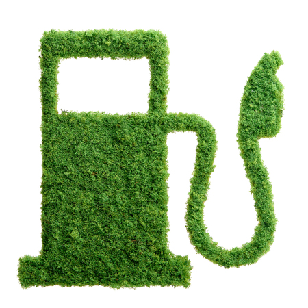 Grass growing in the shape of a gas station, symbolising the need to invest in alternative fuel solutions for transportation. Stock Photo
