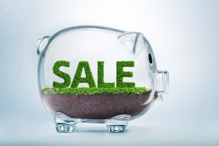 Grass growing in the shape of the word sale, inside a transparent piggy bank.