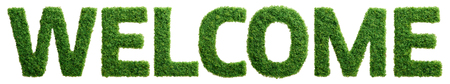 Grass growing in the shape of the word welcome isolated. Reklamní fotografie