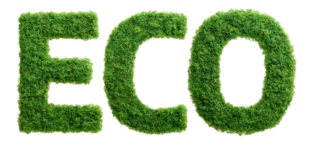 Grass growing in the shape of the word ECO isolated. Reklamní fotografie