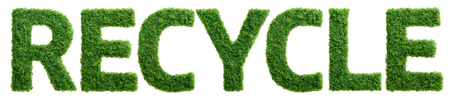 Grass growing in the shape of the word recycle isolated. Reklamní fotografie