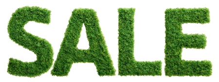 Grass growing in the shape of the word sale isolated.
