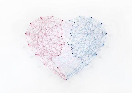 Network of pins and threads in the shape of a couple merging into a heart symbolising an intimate love connection and the importance of communication in a relationship.
