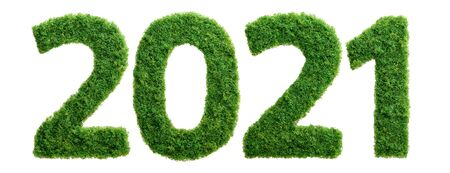 2021 is a good year for growth in environmental business. Grass growing in the shape of year 2021. Фото со стока