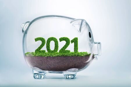 2021 is a good year for business. Grass growing in the shape of year 2021, inside a transparent piggy bank. Фото со стока