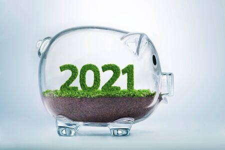 2021 to dobry rok dla biznesu. Trawa rosnąca w kształcie 2021 roku, wewnątrz przeźroczystej świnki-skarbonki.
