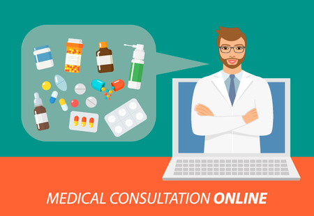 first form: Online consultation and medical care flat illustration concepts set. Flat design concepts for web banners, web sites, printed materials, infographics.