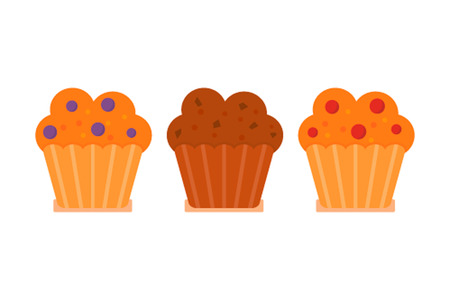 blueberry muffin: Muffin icon set. Blueberry, cranberry, chocolate with chocolate chips. illustration in flat cartoon style. Icon Muffins isolated on white background Illustration