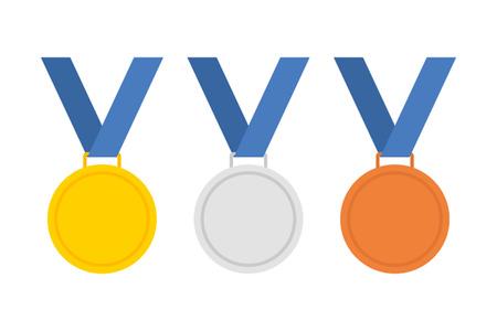 Goldmedaille. Silbermedaille. Bronzemedaille. Goldmedaille Symbol. Silbermedaille Symbol. Bronze Medaille Symbol. Medaille gesetzt. Isolierte Medaille auf dem weißen Hintergrund