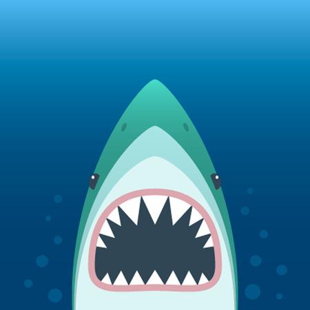 口を開けてサメ。青色の背景にサメの分離。歯と顎でサメの顔。