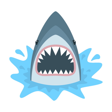 Shark with open mouth. Shark isolation on a white background. Shark Face with teeth and jaw. Vettoriali