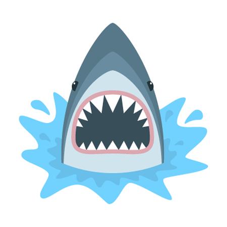 shark cartoon: Tiburón con la boca abierta. el aislamiento de tiburón en un fondo blanco. Cara tiburón con los dientes y la mandíbula.